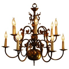 Dutch Brass Two-Tier Twelve-Light Bulbous and Scrolled Chandelier, circa 1910