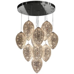 Chandelier Cluster 14 Eggs Medium 2 Lamps, Chrome Finish, Arabesque Style, Italy