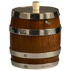 19th Century Oak and Silvered Barrel Tobacco Jar