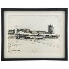 Charcoal Drawing Airport Vienna 1959, Drawing #2