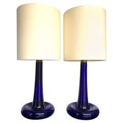 """Pair of Cobalt Blue """"Fleur"""" Lamps by Holmegaard"""
