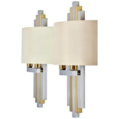 Romeo Rega Style Oversized Italian Chrome and Brass 1980s Wall Lights or Sconces