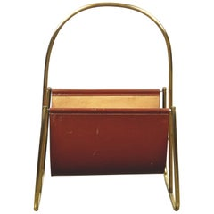 Austrian Midcentury Leather and Brass Magazine Rack by Carl Auböck
