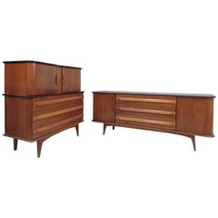 Pair of Mid-Century Modern Walnut and Oak Dressers