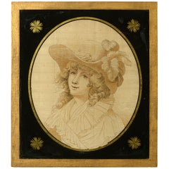 Late 18th Century Silk Work Portrait of a Lady