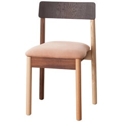 Dining Chair, Upholstered in Suede, Mixed Woods, Designed by Max Frommeld