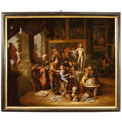 17th Century Oil on Canvas Flemish Painting the Art Workshop, 1670