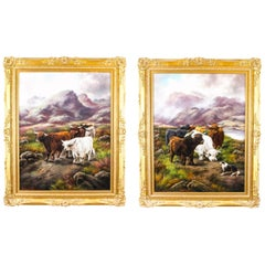 Antique Pair of Paintings of Scottish Country Scenes Frank Stafford 19th Century