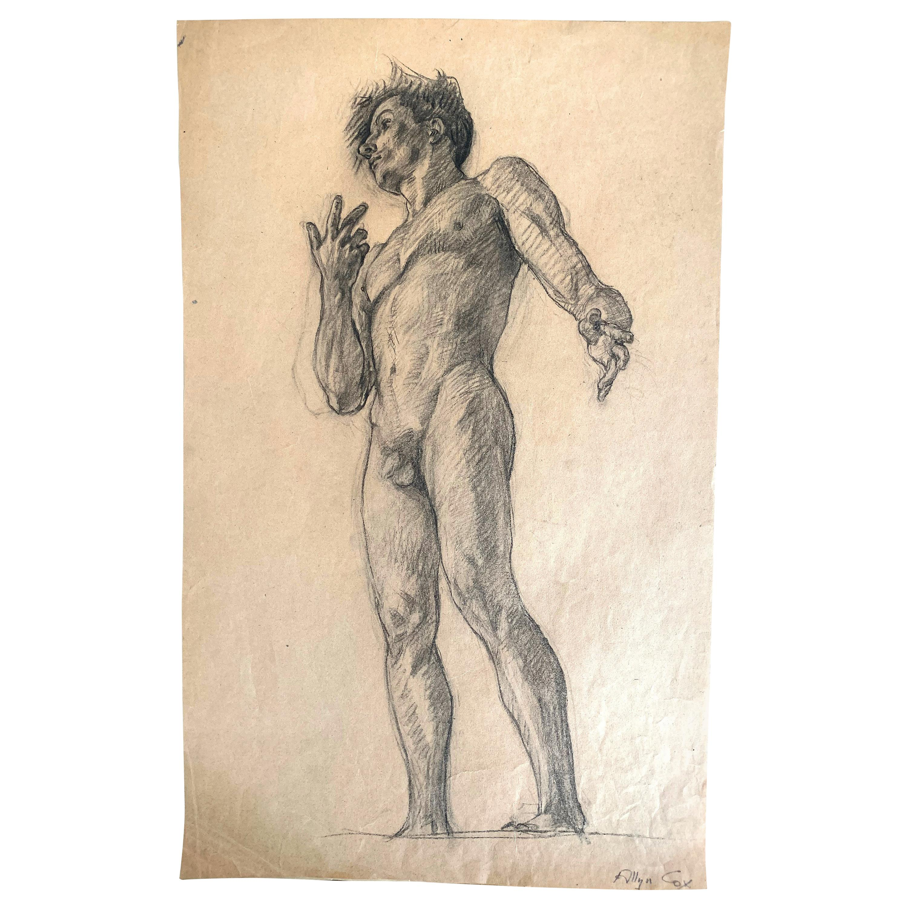 """""""Standing Male Nude,"""" Dramatic Study for Clark Library, UCLA, 1925"""