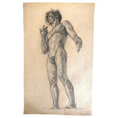 """Standing Male Nude,"" Dramatic Study for Clark Library, UCLA, 1925"
