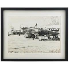Charcoal Drawing Airport Vienna 1959, Drawing #4
