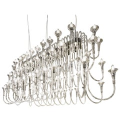 Maxi Octopus Chandelier in Pyrex, Baroque Style, Italy