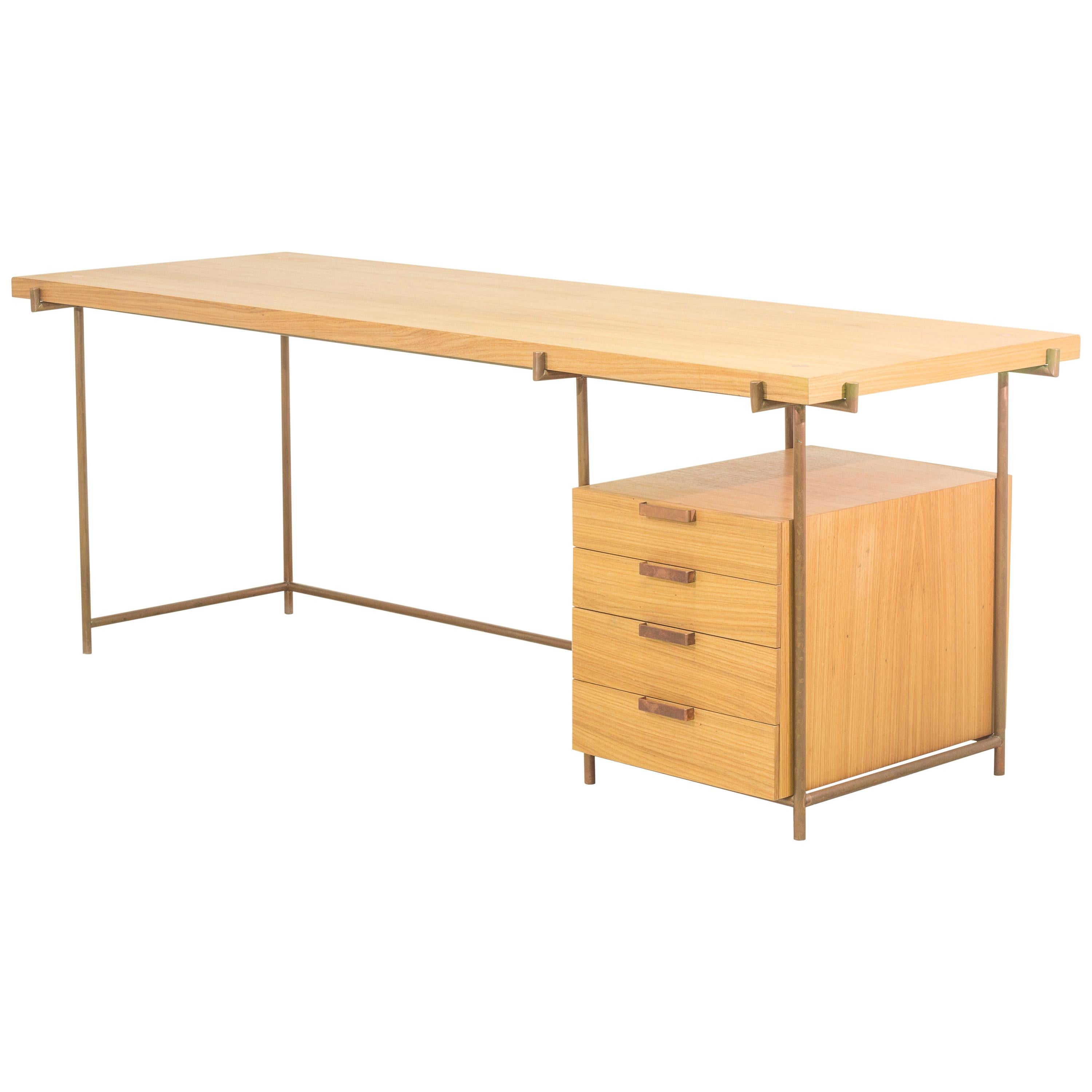Desk with Drawers, Mid Century Modern Wood Copper  / by Brazilian Atelier BAM