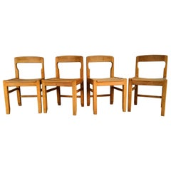 Rare Set of Four Solid French Oak Chairs by Guillerme & Chambron, France, 1960s