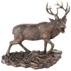Antique French Bronze Stag Sculpture Christopher Fratin, 19th Century