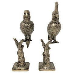 Pair of Estate Silver Plated Perching Birds, circa 1930s