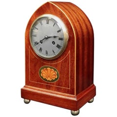 French Belle Époque Figured Mahogany Mantel Clock