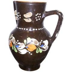 Folk Art Ceramic Pitcher, circa 1970s