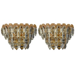 Pair of Sconces from Bakalowits, Austria 1960s, Gilt Brass and Faceted Glass