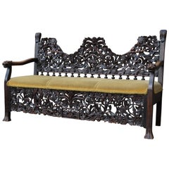 Antique & Meaningful Hand Carved Colonial 'East Meets West' Settee Hall Bench