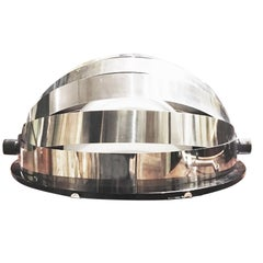 20th Century Italian Design Hemispherical Steel and Glass Lamp