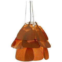 Rare Midcentury 'Uchiwa' Fan Chandelier or Pendant Lamp by Ingo Maurer, 1970s