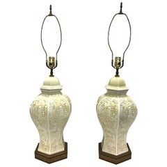 Pair of Chinese Chimoiserie Porcelain Ginger Jar Lamps