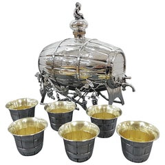 Italian 20th Century Silver Wine-Spirit Barrel on Stand with Silver Beakers