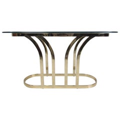 Hollywood Regency Style Glass Top Console Table