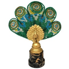 Pair of Antique Austrian Peacock Lamps, Bronze with Art Glass Plumes