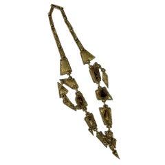 Pal Kepenyes Brutalist Bronze Necklace with Tiger's Eye