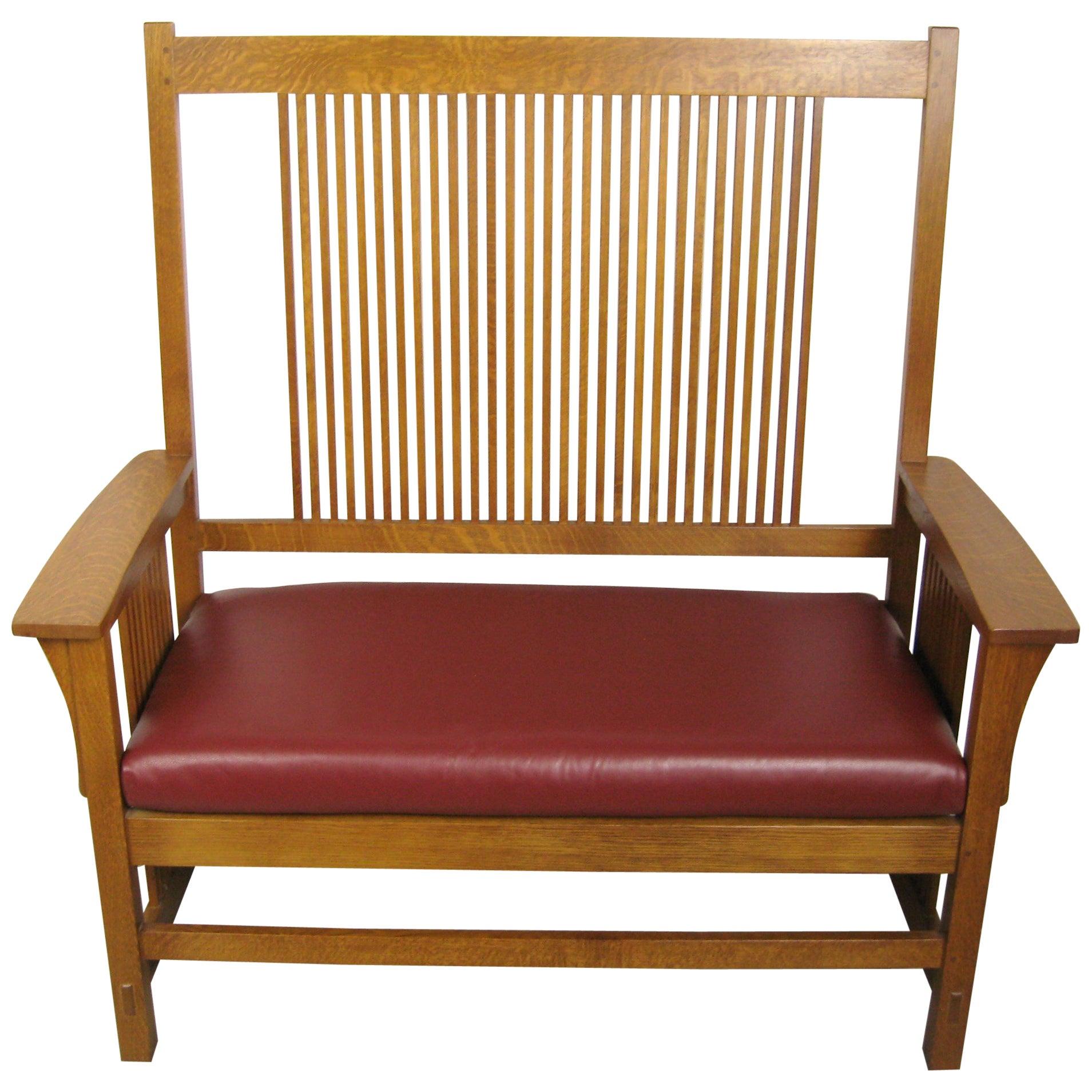 Stickley Mission Oak Arts & Crafts Settee Bench