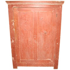 Red Jelly Cupboard One-Door Primitive Pine Cabinet Farmhouse Chic