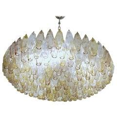 Poliedri Chandelier Murano Carlo Scarpa Venini Clear Amber Amethyst Glass