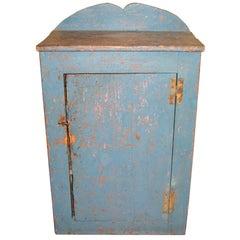 Primitive Blue 1 Door Cupboard Rustic Farm House Pine Cabinet