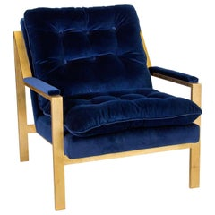 Lounge Armchair with Gold Leaf Details Upholstered in Navy Blue Velvet