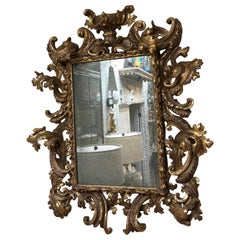 Ornate Antique Gilded Gold Rococo Mirror