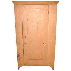 Primitive One Door Cupboard Wardrobe Pine Rustic Cabinet Mustard Painted