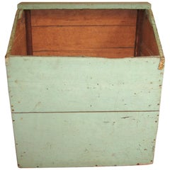 Pine Primitive Farm House Grain Bin Firewood Box Rustic Charm Green Painted