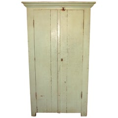Primitive Two-Door Farm House Rustic Green Jelly Cupboard, 1920s