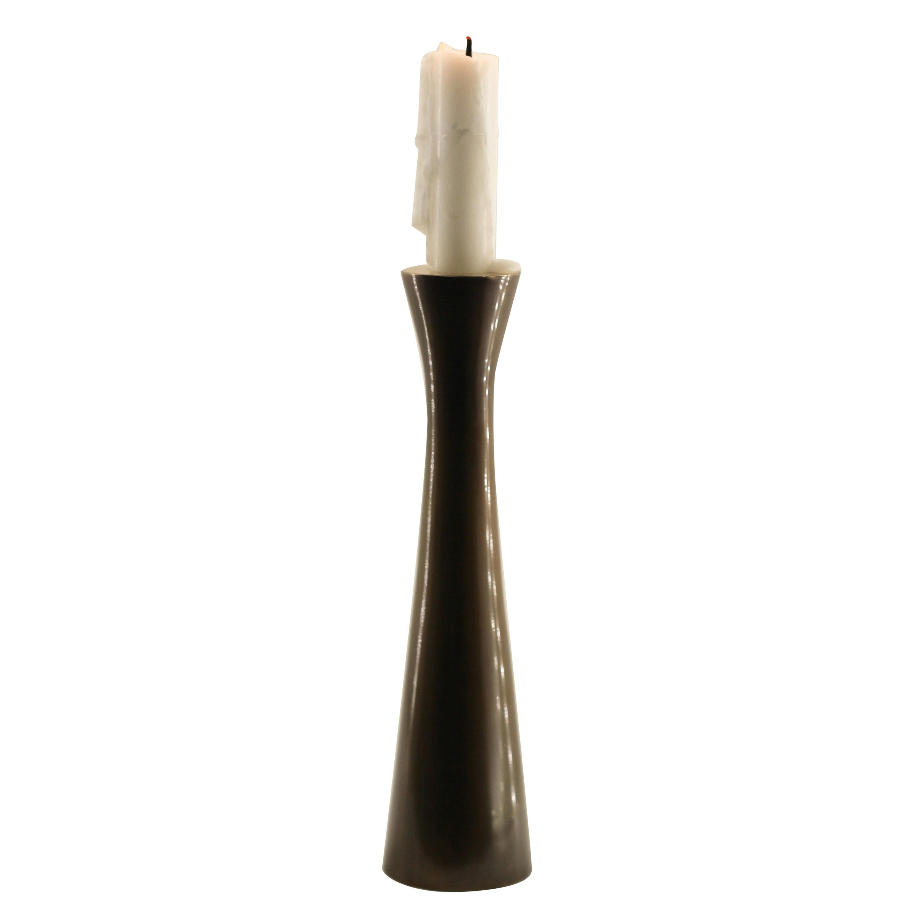 Tall Brass Tapered Candle Holder with Bronze Patina