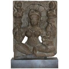 Indian Goddess Black Stone Sculpture, Rajasthan, 11th-12th Century