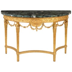 Fine Pair of George III Giltwood Marble Demi-Lune Pier Tables