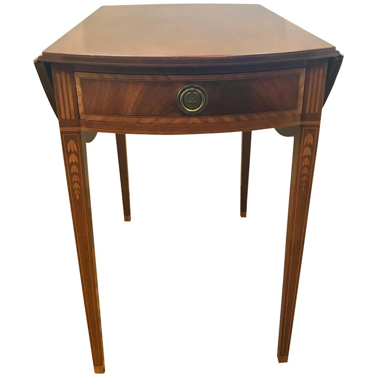 Georgian Mahogany Inlay Pembroke Drop Leaf Table For