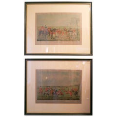 Henry Alken Watercolor Etchings The Meeting and The Death Original Frames