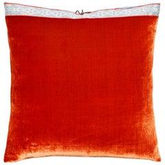 Silk Velvet Throw Pillow Burnt Orange