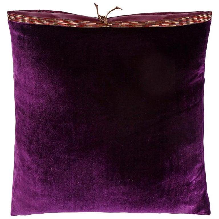 Silk Velvet Throw Pillow Plum For Sale