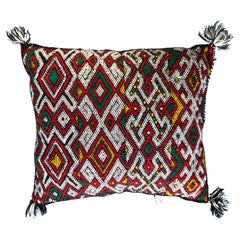Bold Red Vintage Moroccan Wool Kilim Throw Pillow Handwoven Boho Chic