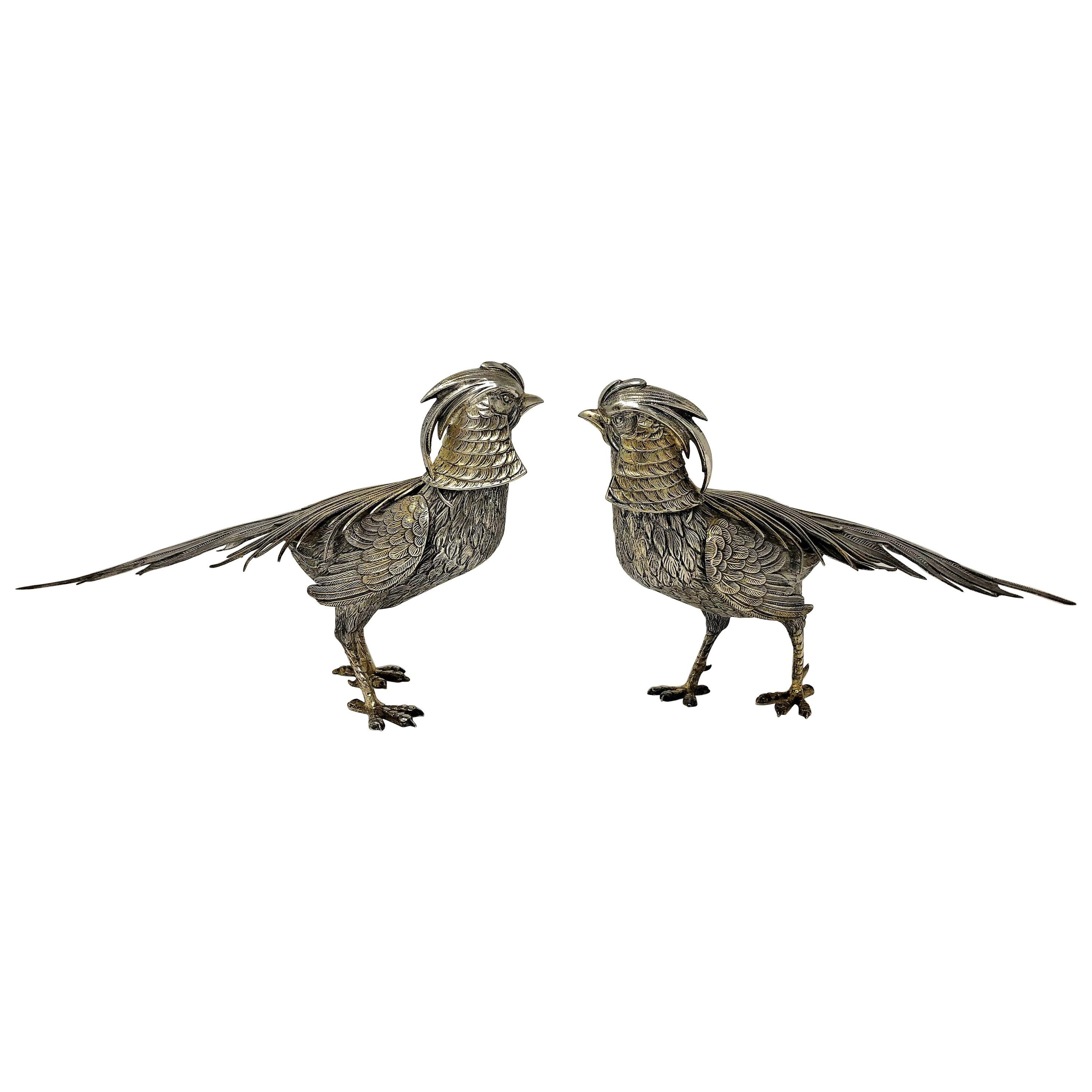 Pair of Antique Sterling Silver Chinese Golden Pheasants, circa 1920-1930