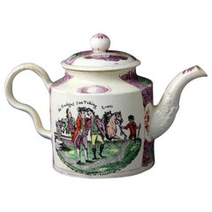 English Creamware Teapot by William Greatbach Staffordshire, 18th Century